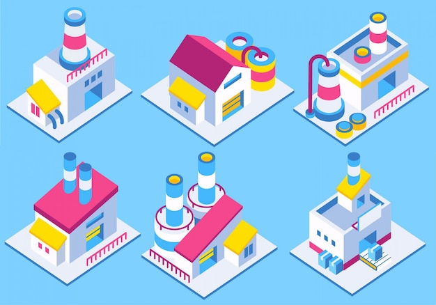 Industrial building isometric icon vector