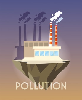 Industrial building over terrain, environmental pollution