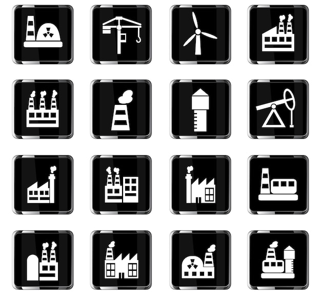 Industrial building web icons for user interface design