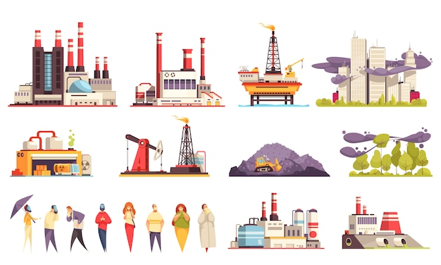 Industrial buildings cartoon set of factories power plants oil offshore platform isolated  illustration