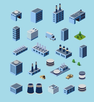 Industrial buildings, factories and boilers in perspective
