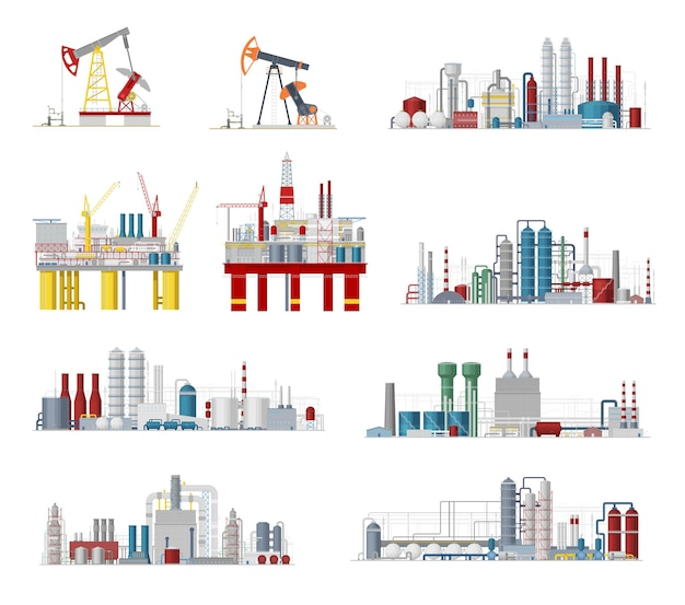Industrial buildings and factory facilities icons
