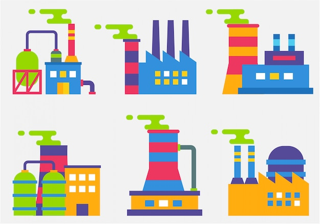 Industrial buildings flat design vector 02