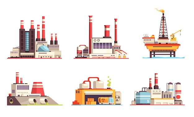 Industrial buildings flat set of petroleum industry power plants power stations oil offshore platform isolated  illustration
