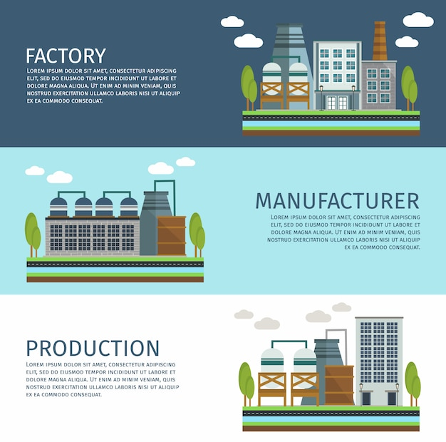 Industrial buildings horizontal banners set