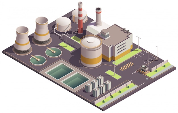 Industrial buildings isometric composition with plant site landmark and factory facilities with pools and parking lot