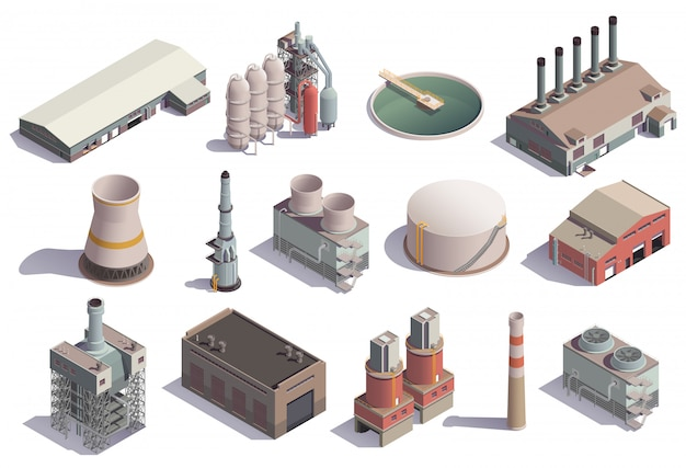 Industrial buildings isometric icons set with isolated images of factory facilities for different purposes with shadows