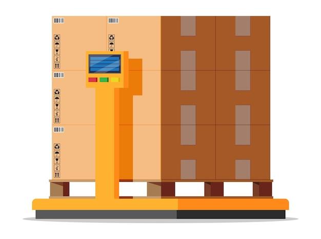 산업용 화물 중량 저울. 상품의 무게. 물류 및 유통, 소포 패키지, 판지 상자. 흰색 절연 상자와 함께 규모. 창고 서비스, 배달. 평면 벡터 일러스트 레이 션