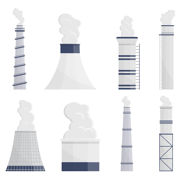 Загрязнение промышленных дымоходов дымом в наборе иллюстраций окружающей среды