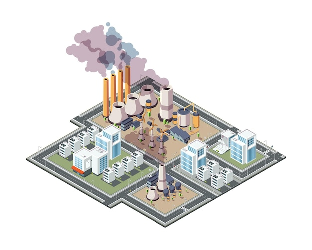 Industrial city. urban factory pollution air garbage in city 3d low poly isometric buildings vector. pollution city urban, factory industrial illustration