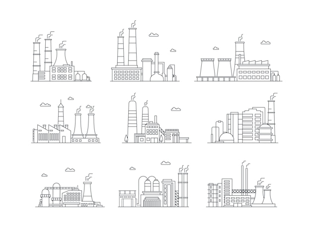 Industrial complex color icons set manufacturing plants isolated factory buildings