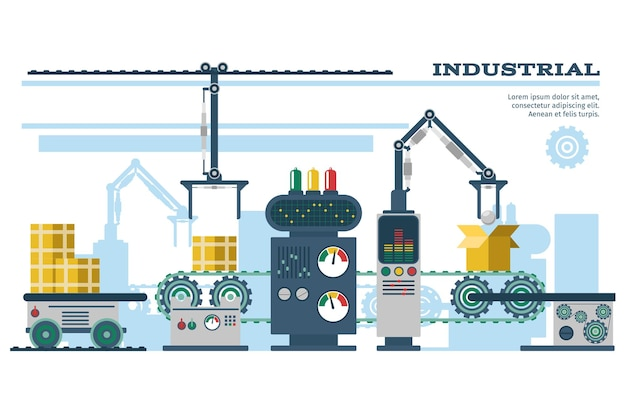 Industrial conveyor belt line illustration.