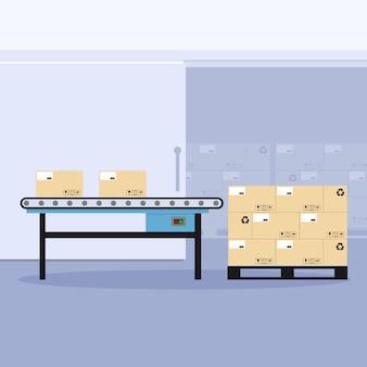 Industrial conveyor belt with pallet packaging