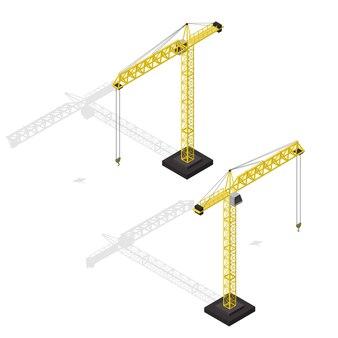 Промышленный кран набор изометрический вид оборудования для строительного бизнеса. иллюстрация