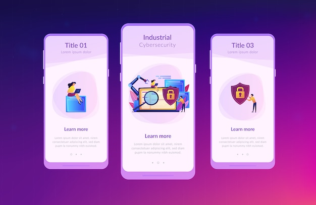 Industrial cybersecurity app interface template.