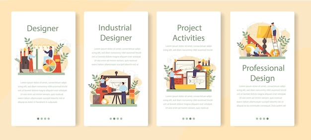 Industrial designer mobile application banner set.
