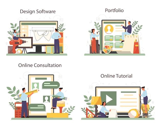 산업 디자이너 온라인 서비스 또는 플랫폼 세트. 현대 환경 개체를 만드는 아티스트. 온라인 디자인 소프트웨어, 포트폴리오, 상담, 비디오 튜토리얼. 격리 된 벡터 일러스트 레이 션