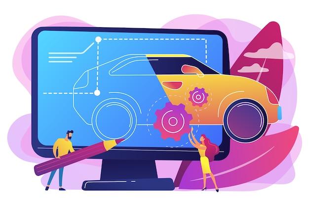 Промышленные дизайнеры на компьютерном чертеже чертежа современного автомобиля. промышленный дизайн, юзабилити-дизайн продукта, концепция развития эргономики.