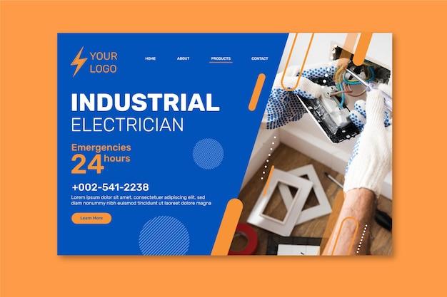 Design della pagina di destinazione per elettricisti industriali