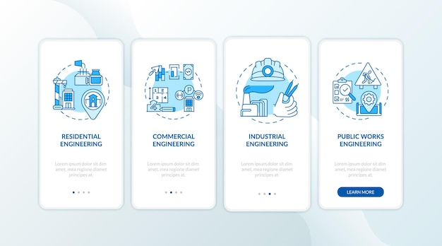 Industrial engineering blue onboarding mobile app page screen with concepts