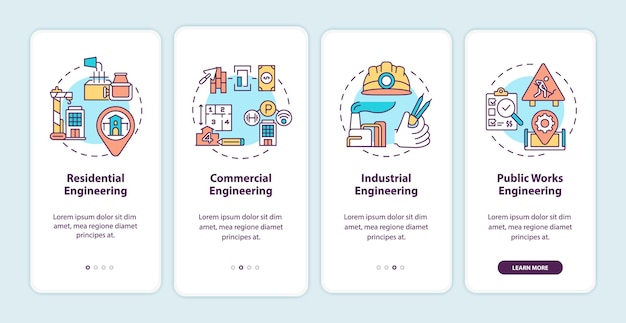 Industrial engineering onboarding mobile app page screen with concepts illustrations