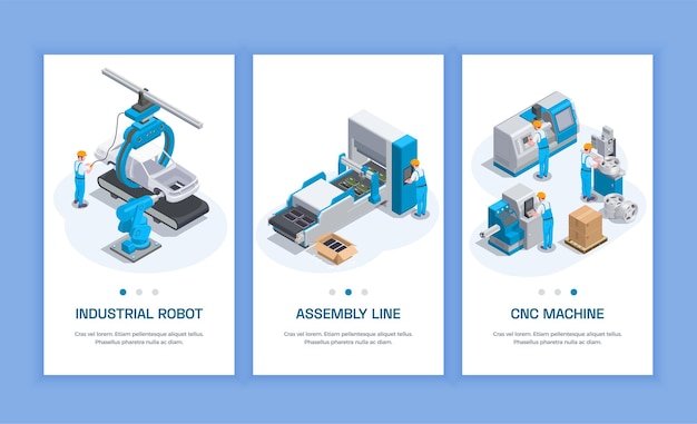Industrial equipment set of three isometric vertical banners with editable text human characters and machine tools  illustration