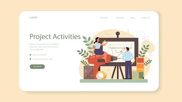 産業用のwebバナーまたはランディングページ。現代の環境オブジェクトを作成するアーティスト。製品の使いやすさ、製造開発。