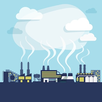 Industrial facilities of factory or manufacturing plant with pollution smoke background print vector illustration