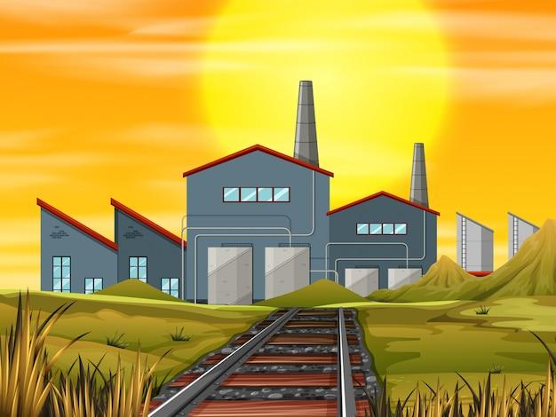 해질녘 산업 공장