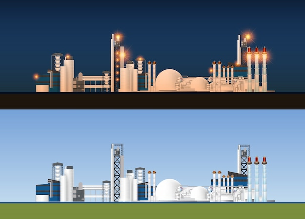 Industrial factory in flat style illustration.plant or factory building. manufacturing factory building.