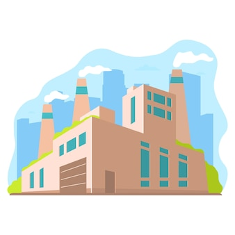 透視図の工業工場。ファサード製造ビル。エコファクトリーコンセプト。街のシルエット。