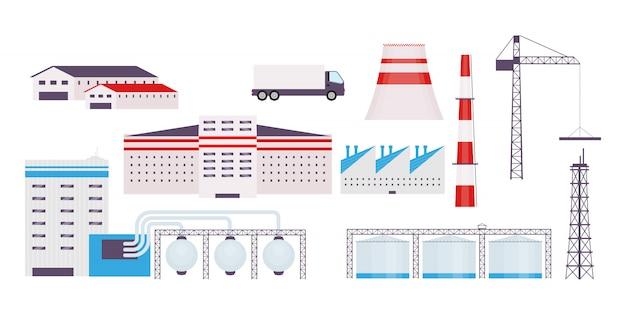 産業工場オブジェクトセット Premiumベクター