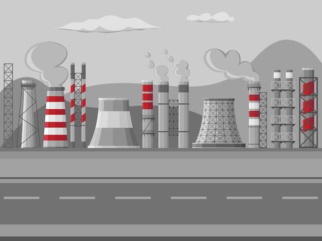 工業工場のパイプ、煙突のイラスト。白い背景の上の有毒な空気の街並みと煙突パイプ工場のセット