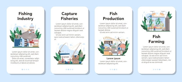 Industrial fishing mobile application banner set.