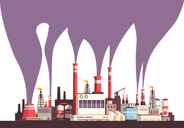 Industrial flat background with set of factories and toxic harmful emissions from plurality of tubes  illustration