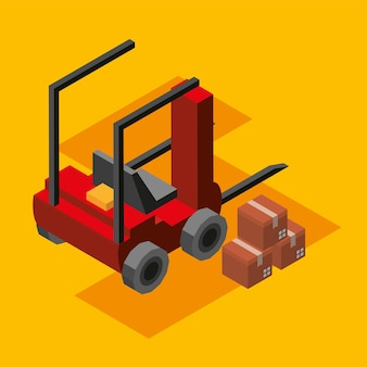 Industrial forklift and boxes