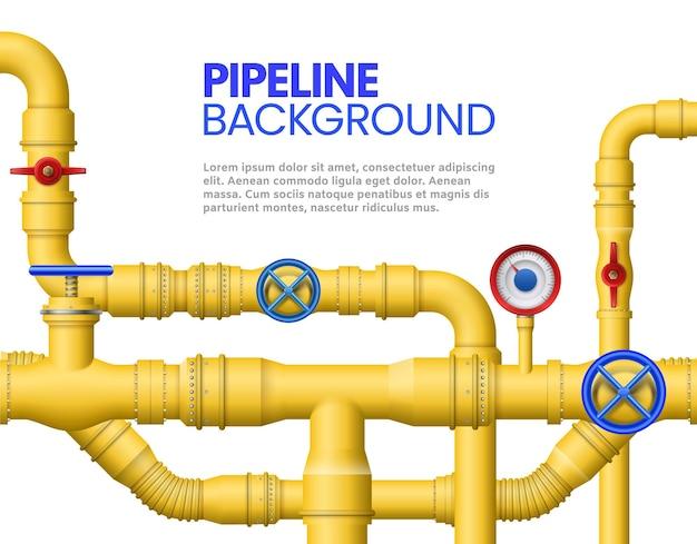 Баннер промышленных газовых труб. желтый трубопровод, нефтяные трубы и иллюстрации трубопроводов.