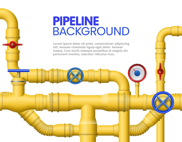 Industrial gas pipe banner. yellow pipeline, oil pipes and pipelines illustration.