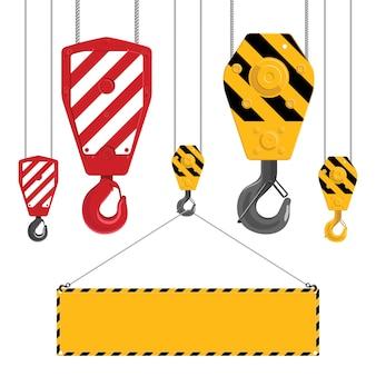 Коллекция промышленных крючков. metal крюк крана при кабели изолированные на белой предпосылке. промышленный крюк, удерживающий раму.