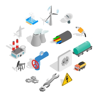 Industrial icon set, isometric style