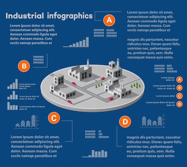Industrial infographics with isometric plant