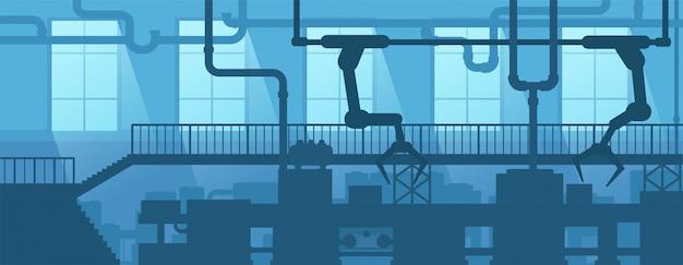 Промышленный интерьер фабрики, завода. дизайн сцены силуэт промышленного предприятия.
