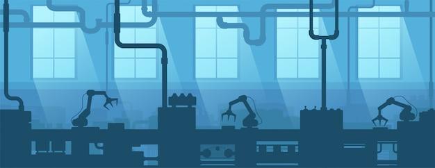 工場、工場の工業用インテリア。シルエット企業。製造4.0。