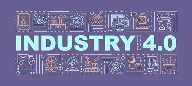 것들 단어 개념 배너의 산업 인터넷입니다. 디지털 기술 소개. 보라색 배경에 선형 아이콘이있는 인포 그래픽. 격리 된 타이포그래피. 개요 rgb 색상 그림
