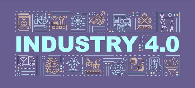 Industrial internet of things word concepts banner. introduction digital technologies. infographics with linear icons on violet background. isolated typography.  outline rgb color illustration