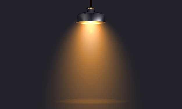 Industrial lamp with light realistic mock up