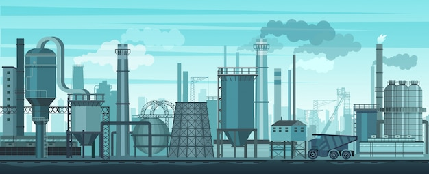 Industrial landscape background. industry, factory and manufacture. environment pollution problem.