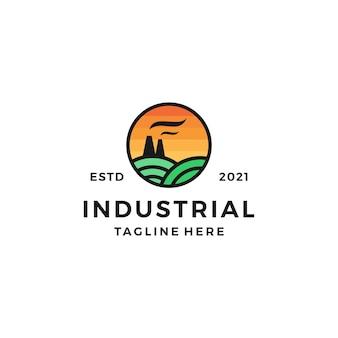 Промышленный ландшафтный дизайн логотипа векторная иллюстрация