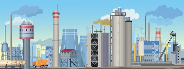 Industrial landscape with factories and manufacturing plants.   industry illustration