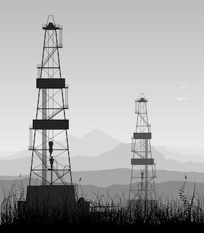 Индустриальный пейзаж с нефтяными вышками и силуэтами гор. подробная иллюстрация.